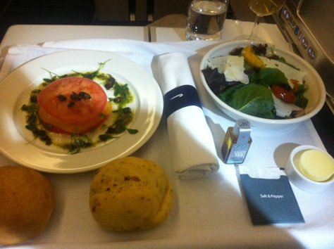 BA B777 Club World food from Orlando