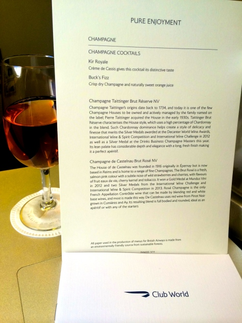 BA B777 Club World Champagne menu