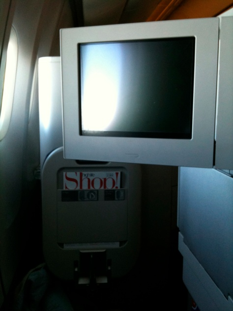 BA B777 Club World screen