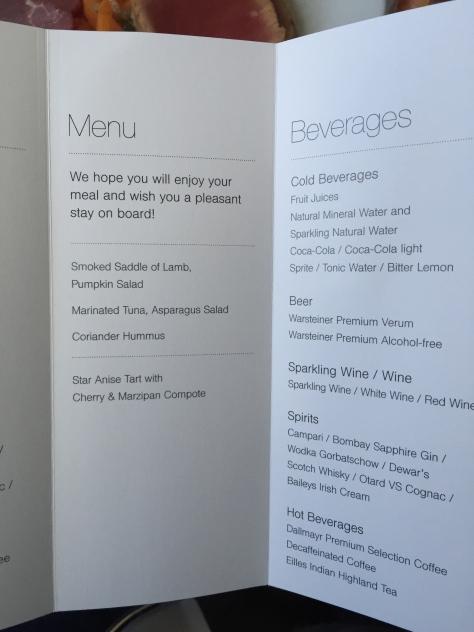 Lufthansa A321 - 200 Business Class meal